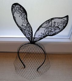 NEW black vintage rose wall lace bunny rabbit ear veil mask hairband headband Alice In Wonderland Lolita Gaga. $58.95, via Etsy.