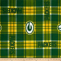 NFL Fleece Green Bay Packers Plaid Green Yellow from  fabricdotcom Cheer on  the NFL 69671da2d