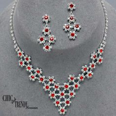 GORGEOUS RED & CLEAR RHINESTONE CRYSTAL WEDDING FORMAL NECKLACE JEWELRY SET CHIC #Unbranded