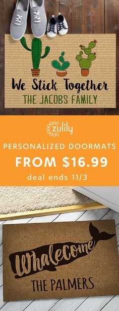 Sign up to shop personalized doormats and home decor from $16.99. This collection has your name all over it. Or rather, these products will after you've purchased and personalized each. Shop a variety of household items and accessories to add a custom feeling to your home.