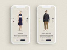 portfolio project view, 1 per screen Armor Lux - mobile view by Nicolas Bonté Mobile Ui Design, App Ui Design, Interface Design, Flat Design, Site Design, Website Layout, Web Layout, Armor Lux, Composition Design