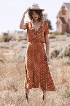 The Lilly Lady Midi Dress in a sweet, Classic Polka Dot print, with a button up front,a peter-pan collar and defined waist that gives this piece a cool vintage feel.