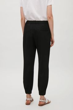 COS image 3 of Elastic waist & cuff trousers in Black