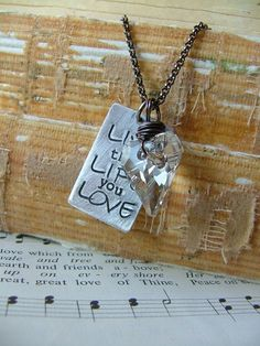 www.MyBellaMarketplace.com  #MyBellaMarketplace  Live the Life you Love Custom Hand Stamped Necklace with Swarovski Crystal by MyBella