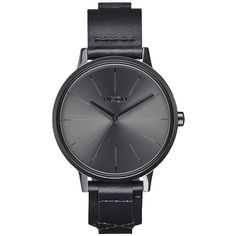 Nixon Kensington Leather Analog Display Japanese Quartz Black Watch ($150) ❤ liked on Polyvore featuring jewelry, watches, quartz watches, analog wrist watch, leather wrist watch, antique wrist watch and antique vintage watches