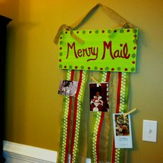 My merry mail sign complete and ready for Christmas cards!!!!!!