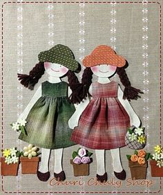 By Churi Chuly Shop, lovely fabric dolls , would be nice on a little girls scrapbook pages or handmade bag Baby Applique, Applique Patterns, Applique Quilts, Applique Designs, Embroidery Applique, Machine Embroidery, Quilt Patterns, Embroidery Designs, Applique Pillows