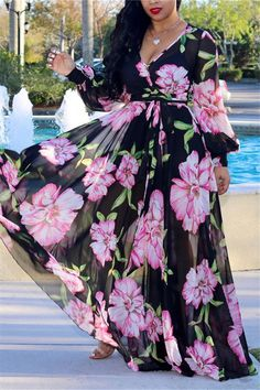 Tropical Print Deep V Belted Warp Maxi Dress Women's Best Online Shopping - Offering Huge Discounts on Dresses, Lingerie , Jumpsuits , Swimwear, Tops and More. Floral Print Maxi Dress, Print Chiffon, Floral Chiffon, Evening Dresses, Maxi Dresses, Party Dresses, Maxi Outfits, Perfect Prom Dress, Floor Length Dresses
