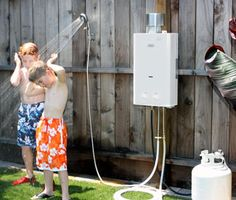 Poolside portable shower that's heated!