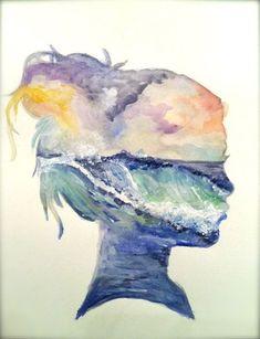 Art Lesson idea! Profile portrait with watercolour! #artsed #arted - love it!!