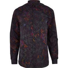 Brown floral print long sleeve shirt £35.00