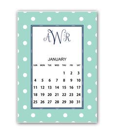 Download and print this free monogram monthly printable calendar with our FREE monogram maker!
