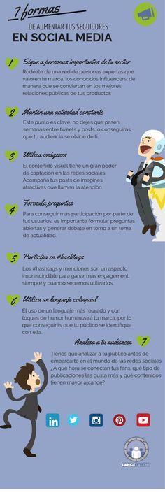 7 formas de aumentar seguidores en Redes Sociales #infografia #socialmedia