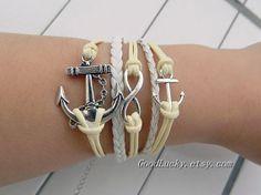 Couple bracelets leaherSilver 8infinity by charmjewelrybracelet, $10.99