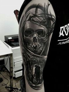 Black and white skull tattoo - 100 Awesome Skull Tattoo Designs