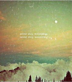 never stop wondering, never stop wandering