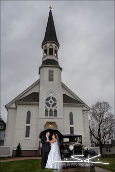 Church Wedding Portrait in the rain