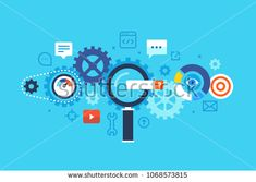 Search engine, SEO. Flat design modern vector illustration concept.