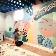 Basement Playroom Reveal & Mural How-To! • Mindfully Gray Playroom Paint, Playroom Mural, Kids Room Murals, Playroom Furniture, Nursery Wall Murals, Kid Playroom, Playroom Organization, Kids Room Design, Wall Design