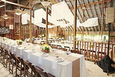 """Fabric drape to """"soften"""" rafters. Great touch!   featured California farm wedding 