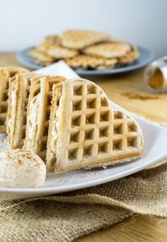 Fluffly waffles sandwiched with a delicious cinnamon cream cheese filling. These Cinnamon Roll Waffles will make you think you're not even keto! Shared via //www.ruled.me/