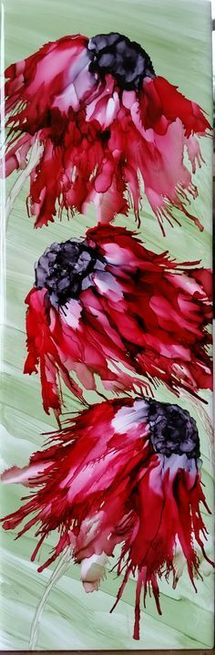 Flowers in alcohol ink on tile by Tina. Alcohol Ink Tiles, Alcohol Ink Crafts, Alcohol Ink Painting, Pour Painting, Silk Painting, Painting & Drawing, Watercolor Paintings, Watercolour, Mermaid Paintings