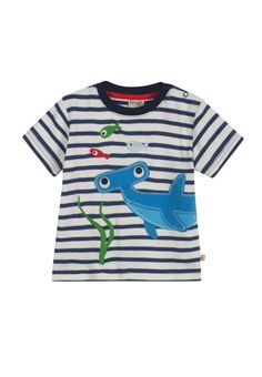 Frugi 100% Organic Cotton t-shirt. This t-shirt is made from strokably soft jersey cotton with a fab animal applique on the front and side neck poppers for easy changing.