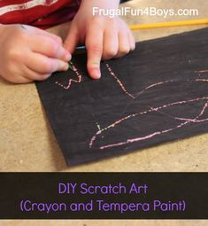 DIY Scratch Art with Crayon and Tempera Paint  -- YAY  I can DIY... the paper I found was really expensive.