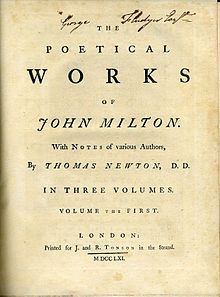 "John Milton - Title page of a 1752–1761 edition of ""The Poetical Works of John Milton with Notes of Various Authors by Thomas Newton"" printed by J. & R. Tonson in the Strand"