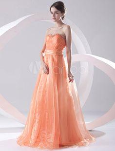 de1c5a13882d Princess Silhouette Orange Beading Sweetheart Floor-Length Prom Dress   Orange
