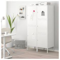 HÄLLAN Storage combination with doors - white - IKEA - Finance tips, saving money, budgeting planner Cabinet Doors, Tall Cabinet Storage, Locker Storage, Dining Cabinet, Storage Units, Ikea Office Storage, Ikea Storage Cabinets, Ikea Lockers, Gym Lockers