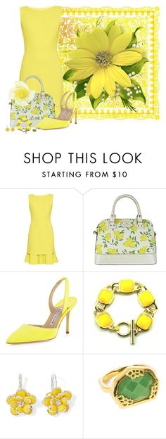"""Yellow dress"" by montse-gallardo ❤ liked on Polyvore featuring BasicGrey, Oscar de la Renta, Kate Spade, Manolo Blahnik, Mixit and Neola"