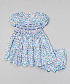 Loving this Blue & Yellow Floral Smocked Dress - Infant & Toddler on #zulily! #zulilyfinds