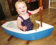 Wooden toy 'In the Night Garden' style rocking boat. Precious!