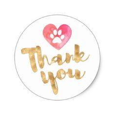 #girly - #watercolor heart pet paw thank you classic round sticker