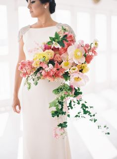 The Ultimate Destination Wedding Set in Puerto Rico - Style Me Pretty Summer Wedding Bouquets, Wedding Dress, Floral Wedding, Wedding Colors, Wedding Flowers, Bridal Bouquets, Summer Weddings, Bougainvillea Wedding, Colorful Weddings