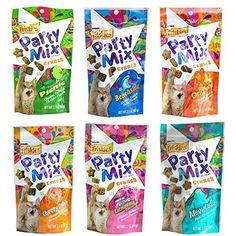 Friskies Party Mix Crunch Variety Pack (6 Fun Flavors 2.1 oz each) - Picnic, Beachside, Cheezy Craze, Original, California Dreamin', and Meow Luau