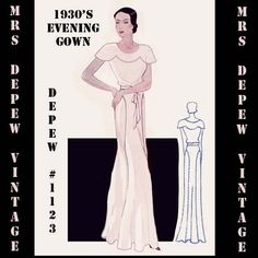 This is a digital draft-at-home pattern for a stunning, full length French evening gown from 1933. It has a scalloped shoulder yoke attached at the