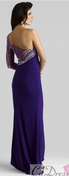 7a2197ccab Clarisse 2014 Purple Gold Long Sleeve One Shoulder Sheer Fitted Gown 2314