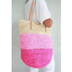 Pink Beach Bag Straw Bag Straw Beach Bag Summer Straw by MOOSSHOP