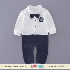 6991ce810 Hot Selling Blue White Bow-Tie Pocket Patch Romper | Perfect gift for  birthday