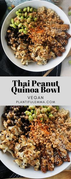 Thai Peanut Quinoa Bowl – Plantiful Emma – Quinoa bowls have become a huge staple in my life. I swear by them to the point where they have bec – Thai Peanut Quinoa Bowl – Plantiful Emma – Quinoa bowls have become a huge staple in my life. I swear by … Veggie Recipes, Whole Food Recipes, Vegetarian Recipes, Cooking Recipes, Healthy Recipes, Vegan Quinoa Recipes, Vegan Meals, Protein In Quinoa, Salads
