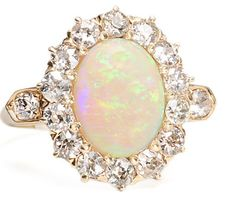 Antique Cabochon Opal And Old European-Cut Cluster Ring, Mounted In 14k Yellow Gold    c.1920   -   The Three Graces