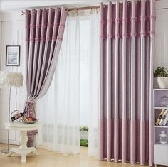 Simple and modern pattern patchwork lace window blackout curtain for living children kid's room bedroom pink 1 pcs price