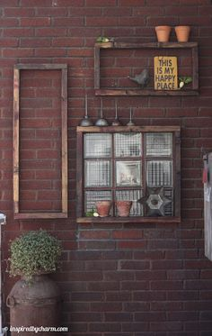 Outdoor Shelves...could do on my fence.