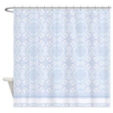 Light Blue and white vertical stripes Shower Curta | Light blue and ...