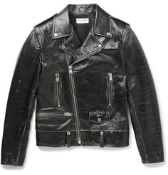 Find out who is wearing Saint Laurent Distressed Leather Biker Jacket and where to buy it. Vintage Leather Jacket, Biker Leather, Leather Men, Leather Jackets, Black Leather, Jacket Style, Vest Jacket, Shirt Style, Harley Davidson