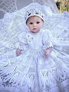 holiday crochet dress baby dress crochet filet crochet dress hand made Hand crochet baby Erika snowflake Christmas dress baby crochet