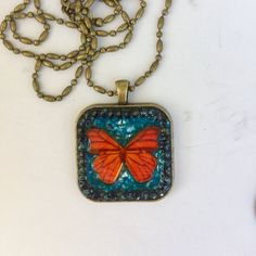 Butterfly Necklace, turquoise and orange, Metamorphosis, Spring Jewelry, Mosaic Pendant, monarch butterfly, Camilla Klein, Micro mosaic by camillaklein on Etsy