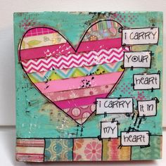 mixed media wood blockI carry your heart I by heartfeltByRobin, $20.00